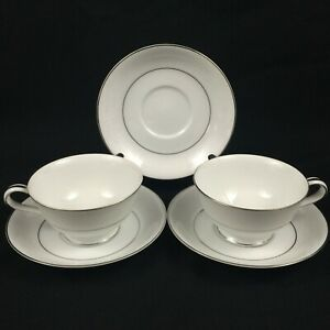 VTG-Set-of-2-Cups-and-3-Saucers-by-Noritake-Whitehall-Floral-6115-Platinum-Japan