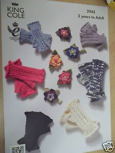 LADIES-CHILDRENS-FINGERLESS-GLOVES-KNITTING-PATTERN-FOR-3-ADULT-KING-COLE-2942