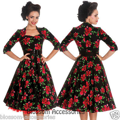 RKP3 Hell Bunny Eternity 50's Floral Rose Rockabilly Swing Dress Retro Vintage