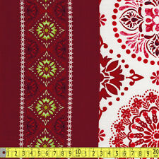 Studio E Fabric Holly Jolly Border Red PER METRE Christmas Tree Decoration Snowm