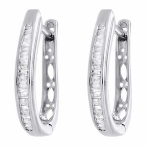 c9aaa7e6d Image is loading 925-Sterling-Silver-Baguette-Diamond-Hoops-Ladies-Oval-