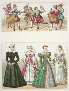 EUROPE-Renaissance-Costume-Royal-Court-Ladies-COLOR-Litho-Print-by-Racinet