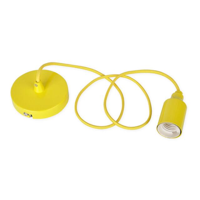 Modern Yellow Ceiling Rose  Braided Flex Pendant Lamp Holder Light Fitting Set