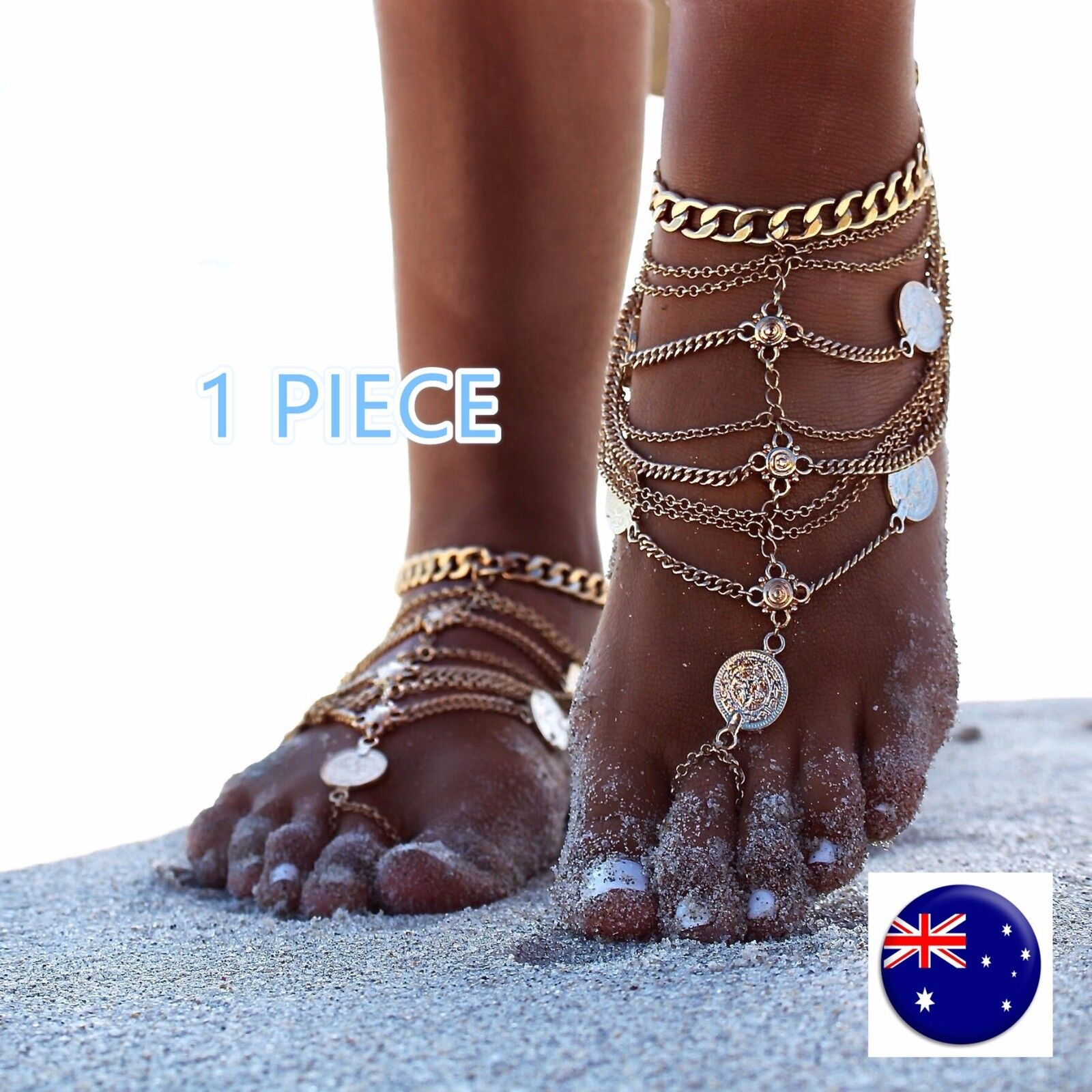 1 Women Beach Party Boho Wedding Sandal Retro gold Coin Foot Anklet Chain tassel
