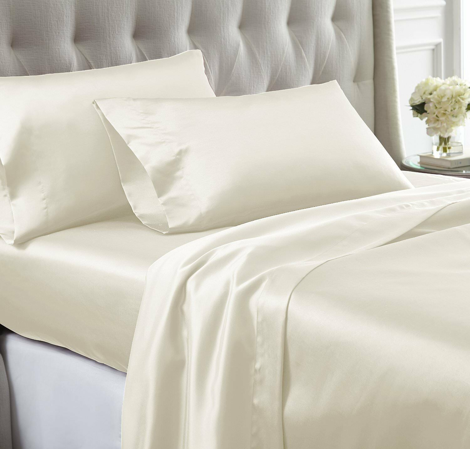 MODERN PURE COTTON LUXURIOUS BEDDING SET ALL SIZE IVORY SOLID 600 THREAD COUNT