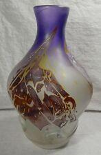 """Vtg Louis Leloup Signed Belgium Art Glass Vase 10"""" tall"""