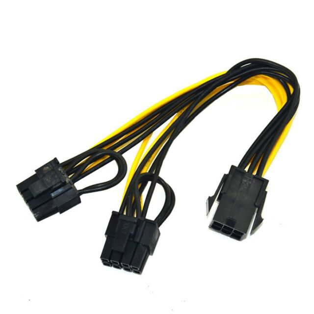 Male PCI Express Power Adapter Braide 6+2 COMeap 8 Pin Female to Dual 2X 8 Pin