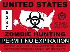1 4 United States Zombie Hunting Permit Outbreak Response Decal Sticker