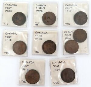 9-x-CANADA-CANADIAN-ONE-CENT-COINS-1905-1919