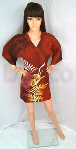 Batik-Blouse-Kimono-Brown-Yellow-Free-size
