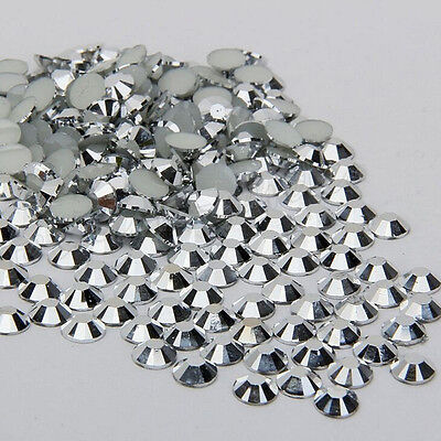 1000Pcs Silver Nail Art Flatback Crystal AB Facets Resin Round Rhinestone Beads