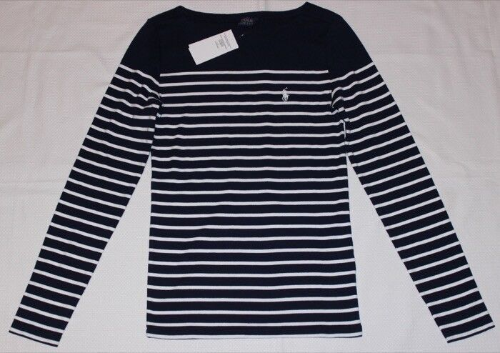 Ralph Lauren maritimes Langarm-Ringel-Shirt weiß-marineblau NEUW Gr.M, L oder XL