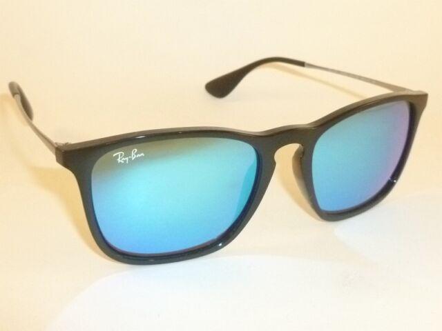 bc43ebe0869e New RAY BAN Chris Sunglasses Black Frame RB 4187 601/55 Blue Mirror Lenses