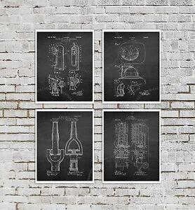 Firefighter-Posters-Set-of-4-Firefighting-Art-Prints-Boys-Room-Black-Wall-Decor
