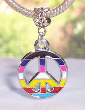 Colorful Rainbow Peace Sign 1960's Dangle Bead Gift fits European Charm Bracelet