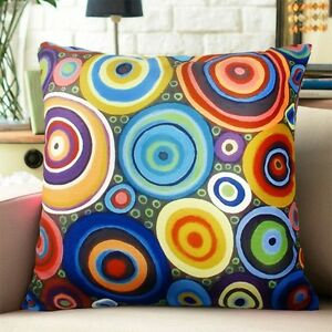 Folk-Circles-VELVET-PILLOW-COVER-FOLK-ART-Abstract-Various-Sizes-Karla-Gerard