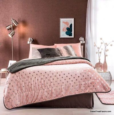 CHERRY FLOWERS BLOSSOM BLANKET SHERPA KING Bedding Decoration Grey GIFT Pink  NW