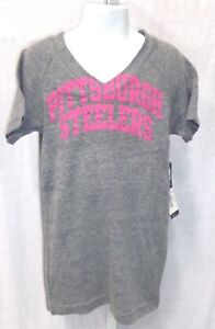 Pittsburgh-Steelers-Football-Short-Sleeve-T-Shirt-Gray-amp-Pink-Youth-Girls