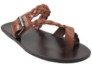 eb4719027378 Men s Davinci Leather Push in Toe Strap woven Sandals 1432