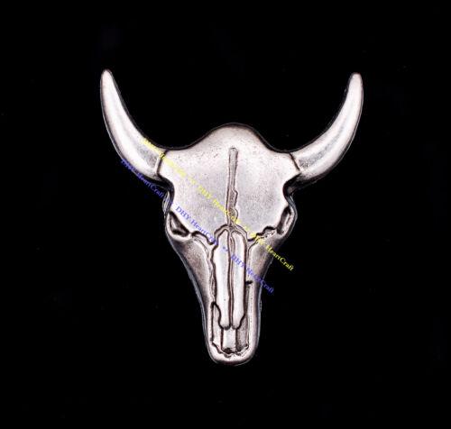 10X Western Cowboy Silver Bull Buffalo Skull Head Longhorn Leathercraft Concho