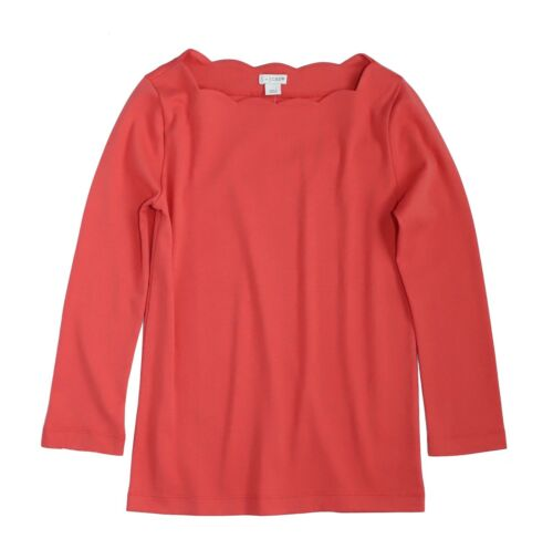 by J.Crew Women/'s S J NWT$45  Coral Red 3//4 Sleeve Scallop Boat Neck Tee
