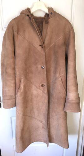 Taglia Winter di pelle sintetica figura Pelliccia Uk a cappuccio Warm con pecora intera di chiaro marrone pelliccia Cappotto 12 in qSwg5UaExw