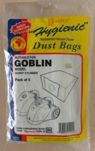 Qualtex 294 Pack de 5 sacs d/'aspirateur pour Goblin Modèle Scoot Cylindre