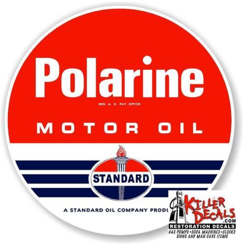 "6/"" STANDARD RED POLARINE MOTOR OIL GAS PUMP TANK DECAL LUBESTER DECAL STICKER"