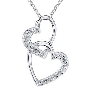 Minxwinx-Double-Heart-Sterling-Silver-amp-Cubic-Zirconia-Necklace-Valentine-Gift