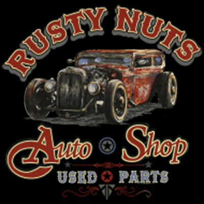 RUSTY NUTS AUTO SHOP HOT ROD T-SHIRT CLASSIC CARS Tee M-5XL Used Parts