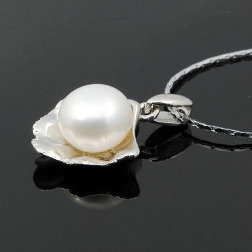A01001  Anhänger echte Süßwasserzuchtperle 8mm 925 Silber Perlenschmuck  weiß