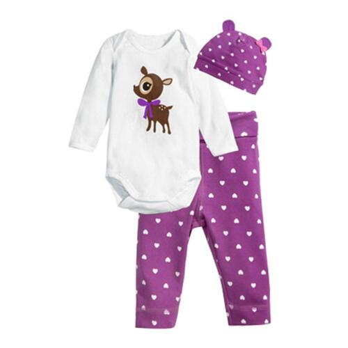 Cute Girls Baby Rompers Jumpsuit Polka Dot Autumn Pants Hat Outfit Clothes Sets