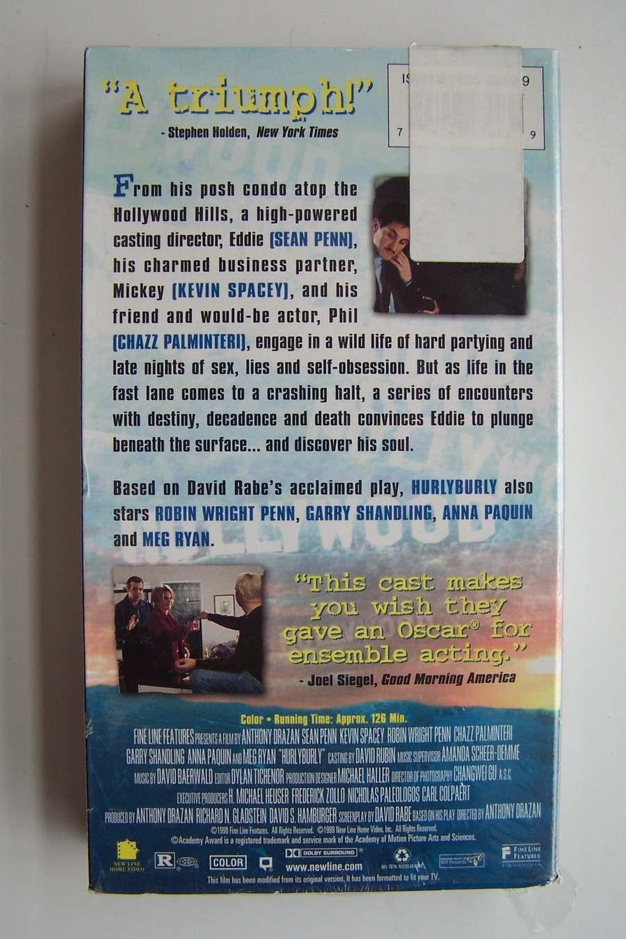 Hurlyburly VHS Video Tape 1998