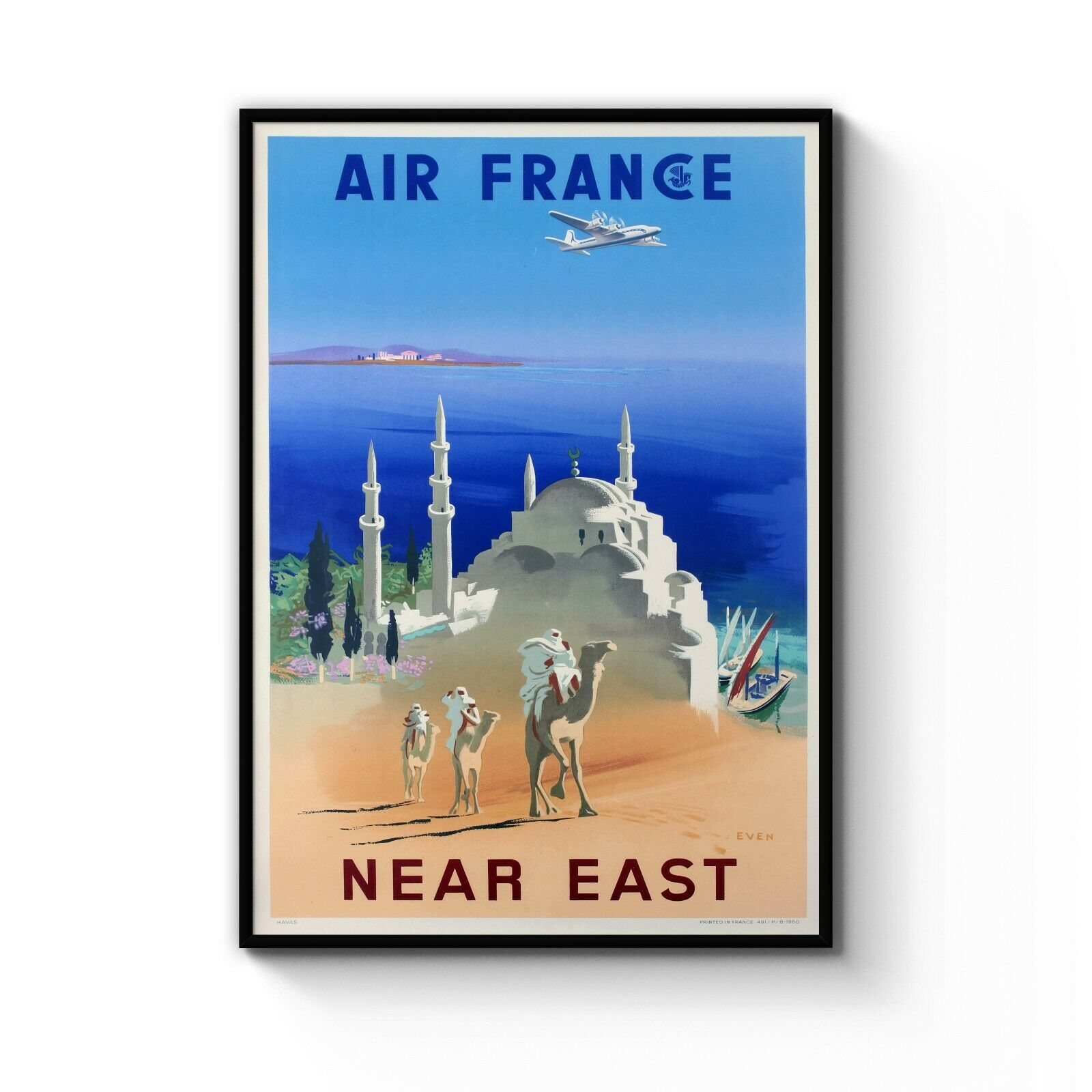Vintage Air France Near East French Travel Poster Gift Art Print  A4 - B1 Framed