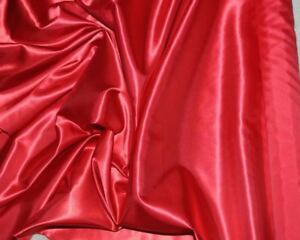 """GOWNS HOME DECOR FORMAL BRIDAL POLYESTER SATIN FABRIC  RED 60/"""" BY THE YARD"""
