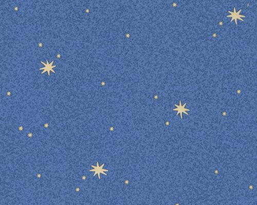 9117-11 schicke Vinyltapete **Leuchtsterne dunkelblau** Kinderzimmer Tapete