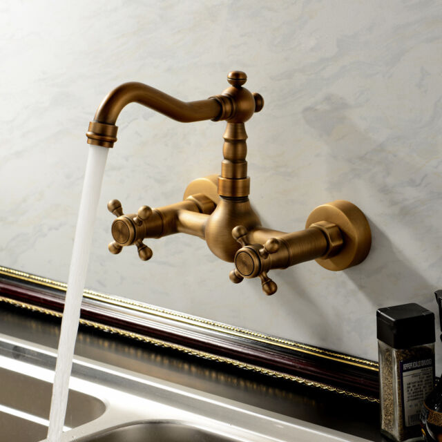 Vintage Antique Brass Wall Mount Bathroom Tub Sink Swivel Faucet Tap