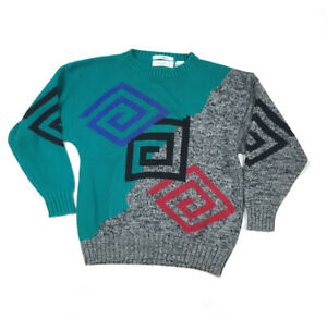 vtg 80s abstract ugly pullover sweater geometric aesthetic