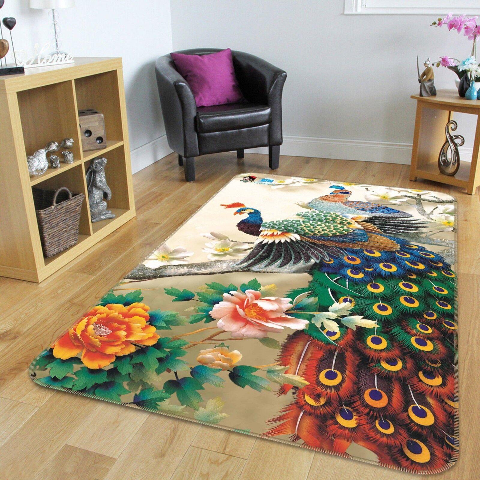 3D Fiori di pavone 636 tappetino antiscivolo tappeto camera Tappetino Qualità Elegante foto Tappeto UK