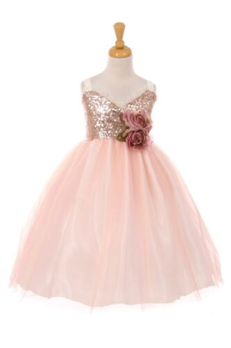 Flower Girls Sequins Glitter Blush Dress Pageant Wedding Party Chrsitmas 6411