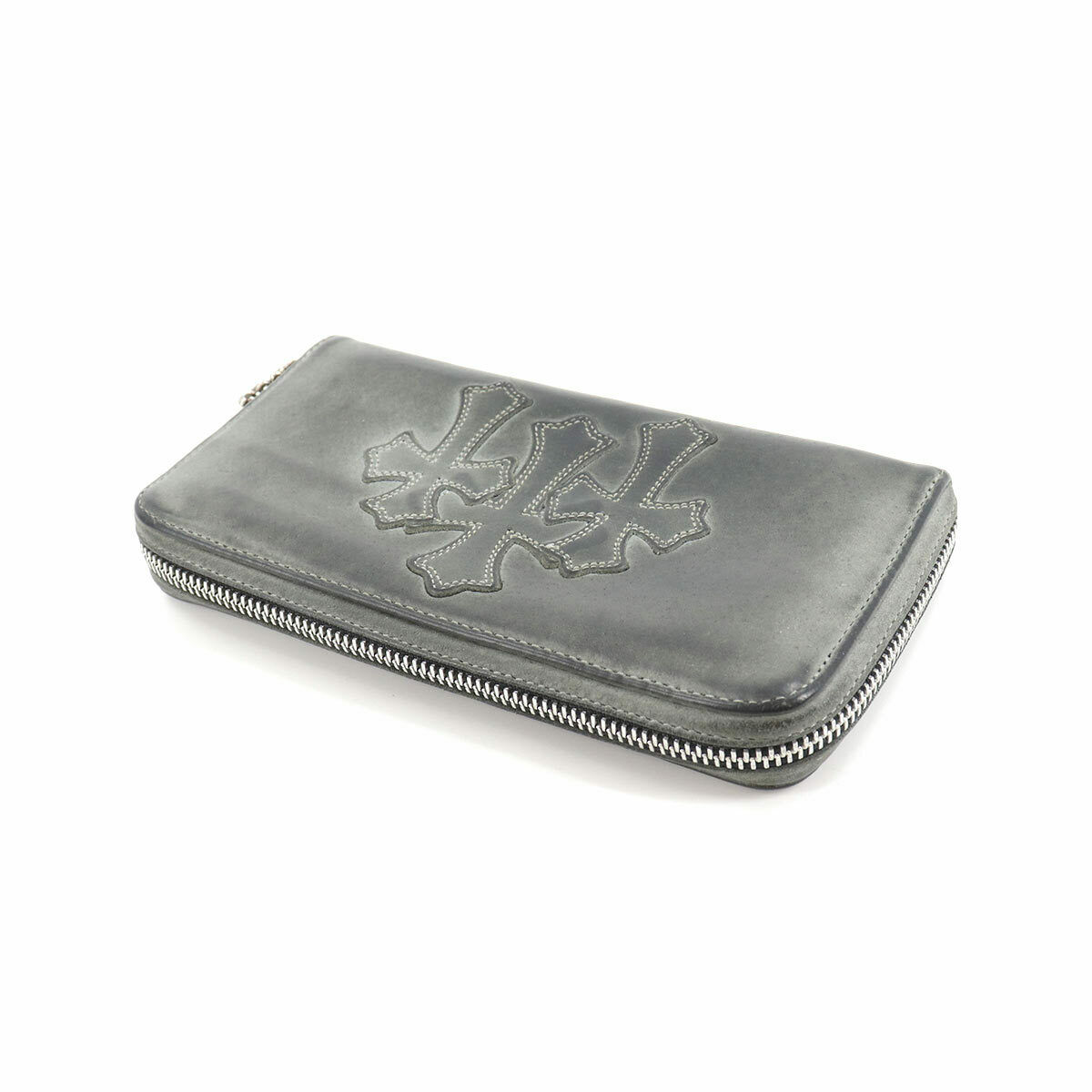 CHROME HEARTS REC F ZIP Zipped Around Long Wallet Leather Black 90133790