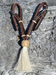 Jose-Ortiz-Dark-Oil-Natural-Rawhide-Knot-White-Tassel-Curb-Strap-Buckles