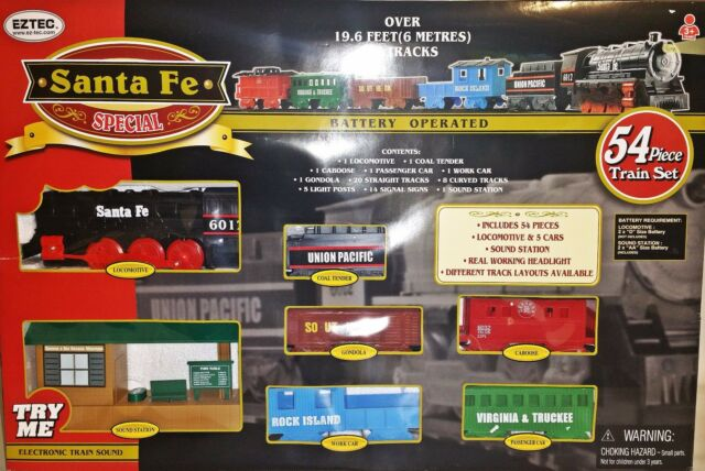 Classic Santa Fe Locomotive Train Set Lights Sound 54pc Station 5 Cars NEW