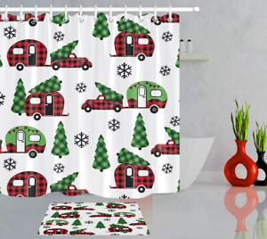 Country-Style-Christmas-Plaid-Red-Truck-and-Camper-Fabric-Shower-Curtain-Set-72-034