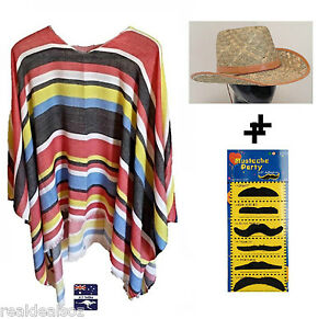 Mexican Poncho & Cowboy Straw Hat Party Fancy Dress Up Costume Wild West Bandit