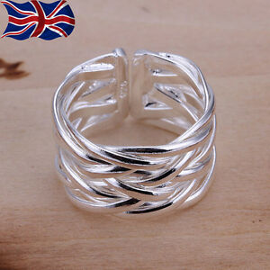 925 sterling silver adjustable ring band weave thumb