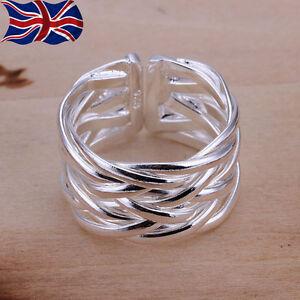 925 Sterling Silver Adjustable Ring Band Weave Thumb Finger Rings Gift UK