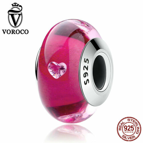 Voroco REAL 925 Sterling Silver Colorful Glass Bead Charm For Bracelet Necklace