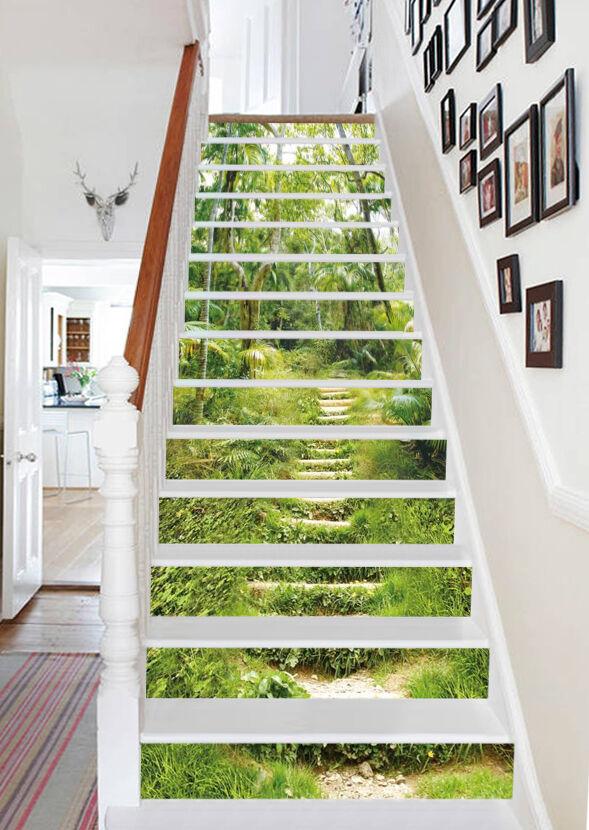 3D Leiter Wald 9838 Stair Risers Dekoration Fototapete Vinyl Aufkleber Tapete DE