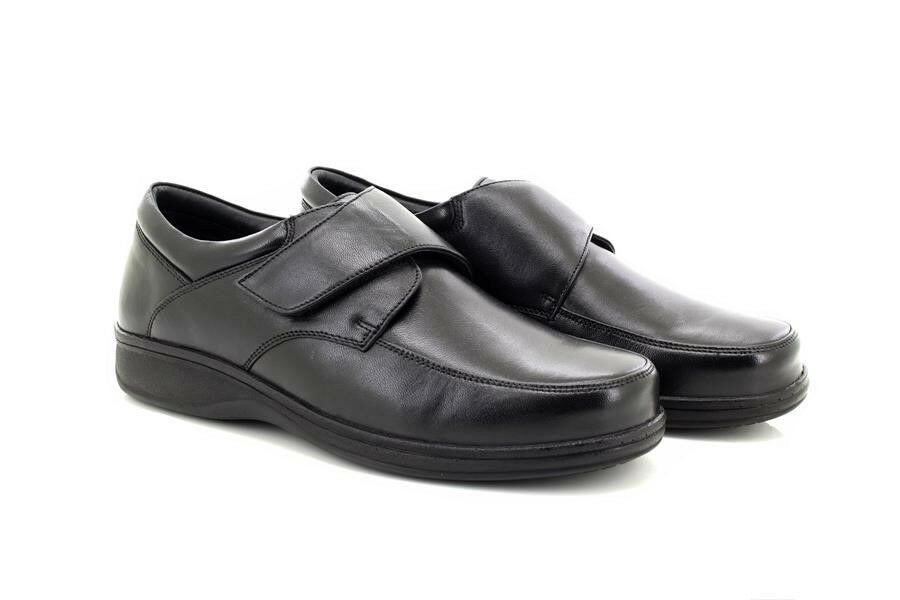 Roamers M723 Mens Leather Lightweight Touch Fastening Casual Everyday shoes Blac
